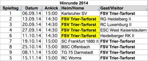 FSV Trier Spielplan 2014